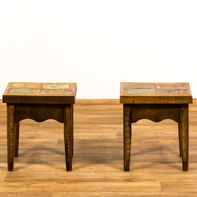 Americana Reclaimed Wood Stools - a Pair For Sale - Image 3 of 6