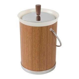 Vintage Kromex Faux Bois Ice Bucket & Tongs