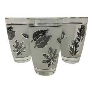 Mid-Century Libbey Silver Leaf Juice Glasses - Set of 6 (Ice Bucket and Bonus Glass Just Added!) For Sale