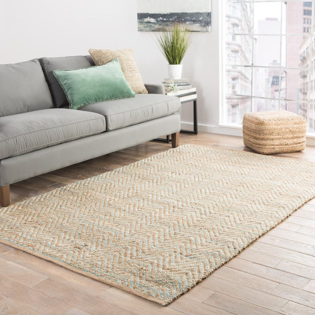 2010s Jaipur Living Reap Natural Chevron Tan & Green Area Rug - 9'x12' For Sale - Image 5 of 6