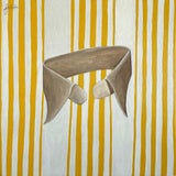"""Image of """"Striped Collar (Yellow)"""" Contemporary Still Life Mixed-Media Oil Painting For Sale"""