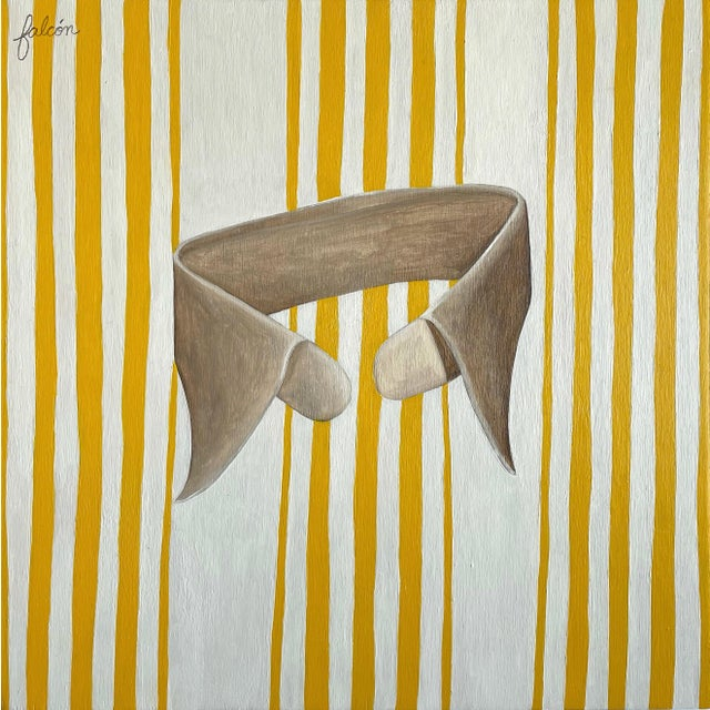 """""""Striped Collar (Yellow)"""" Contemporary Still Life Mixed-Media Oil Painting For Sale"""