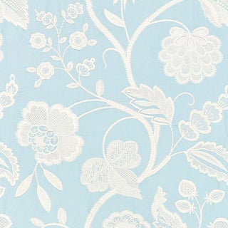 Scalamandre Kensington Embroidery Fabric in Sky Sample For Sale