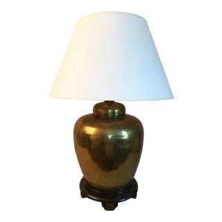 Mid Century Hammered Brass Covered Jar Lamp For Sale