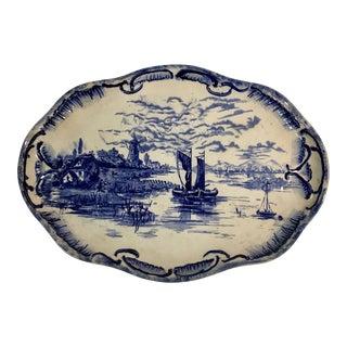 Antique Flow Blue Windmill Platter For Sale