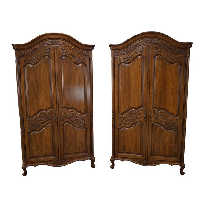 Vintage French Louis XV Style Armoires - Pair - Image 1 of 10