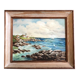 Vintage 1950's Modernist Original Maine Coastal Painting Signed Lighthouse/Sailboat/Fisherman/Seagulls For Sale