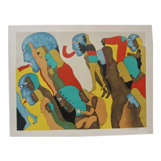 1970s Vintage Javier Arevalo Signed Mexican Lithograph Print Nudes Figures For Sale