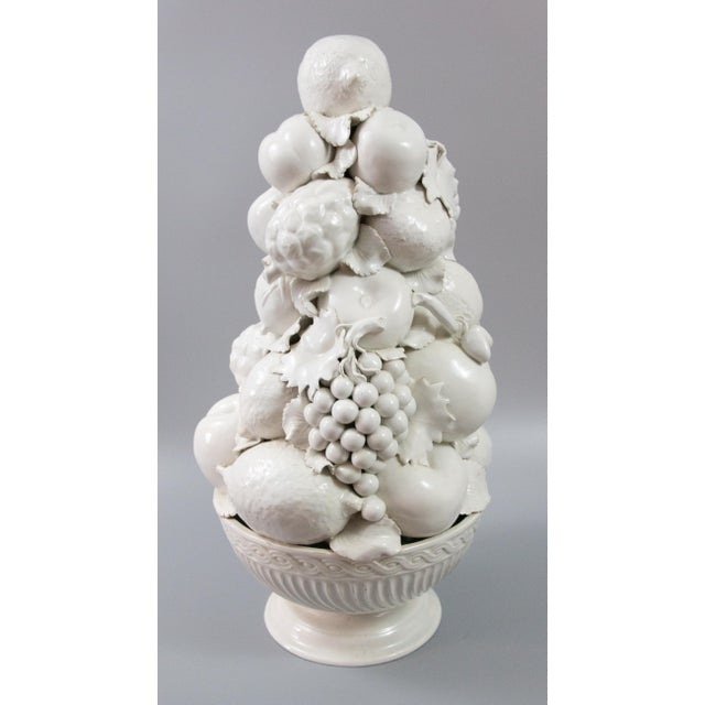 """A stunning large 21.5"""" Mid-Century Italian Blanc de Chine handmade fruit topiary in a pedestal basket. This gorgeous..."""