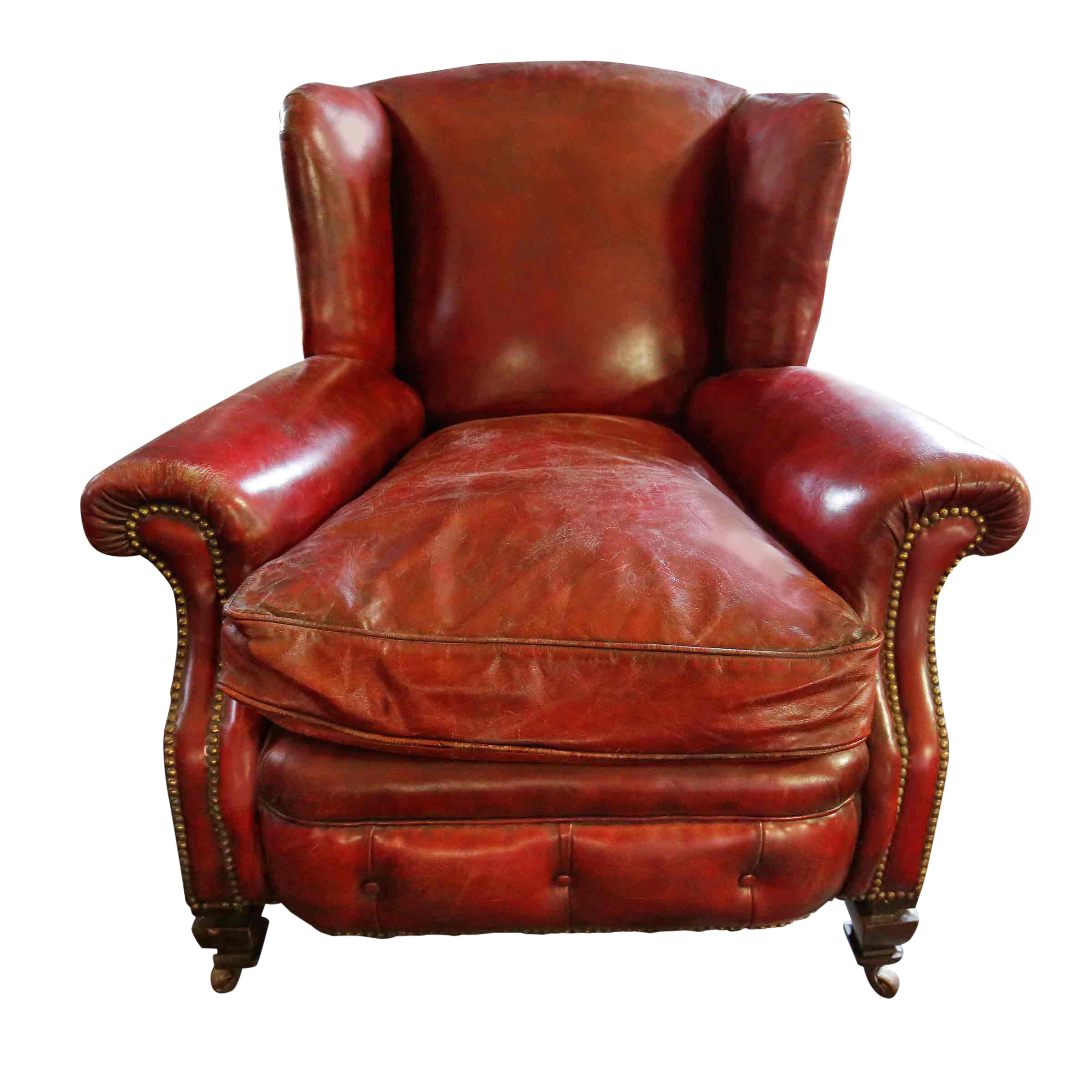 Ordinaire Late 20th Century Red Distressed Leather Armchair