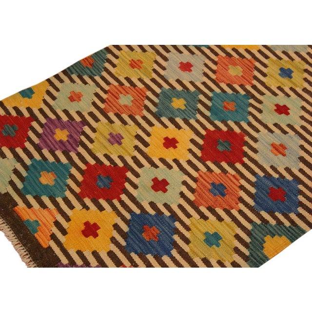 Kilim Arya Liriene Ivory/Brown Wool Rug -2'6 X 4'2 For Sale In New York - Image 6 of 8