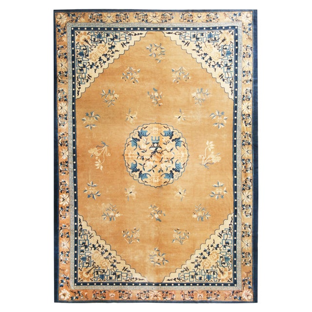 Antique Peking Traditional Gold and Blue Wool Rug - 9′ × 12′8″ For Sale