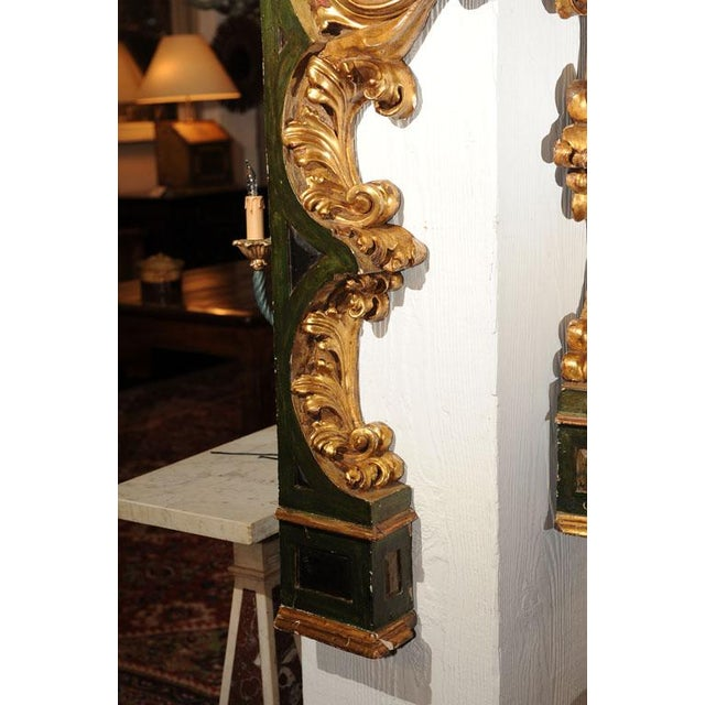 Pair of Italian Paint and Giltwood Architectural Carvings For Sale In San Francisco - Image 6 of 7