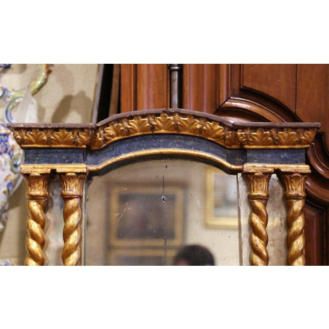 Baroque Mid-18th Century Italian Baroque Carved Polychrome and Giltwood Wall Mirror For Sale - Image 3 of 13