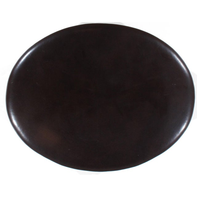 Pasargad N Y Leasant Street Black Leather Egg Ottoman - Image 3 of 4