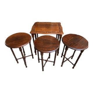 Set 4 Antique French Carved Oak Barley Twist Drop Leaf Nesting Table Folding End For Sale