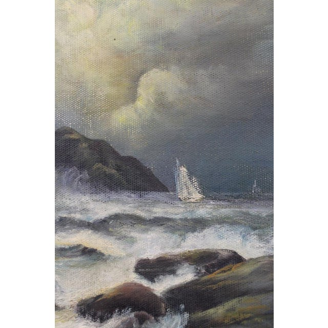 Late 19th Century Late 19th Century Oil on Board Seascape Painting For Sale - Image 5 of 11