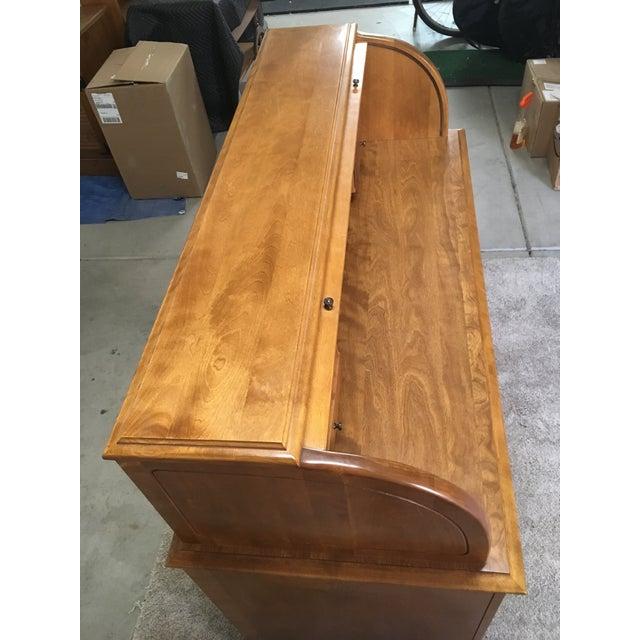 Vintage Traditional Oak Roll Top Desk For Sale - Image 9 of 10