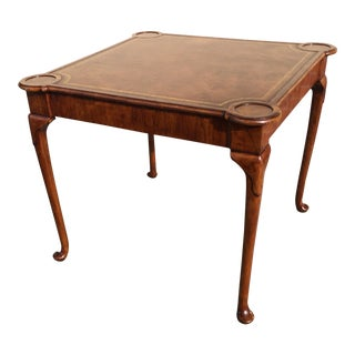 Walnut Game Table Burton Ching Queen Anne For Sale