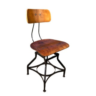 Early 20th Century Antique Industrial Iron Backrest Drafting Stool For Sale