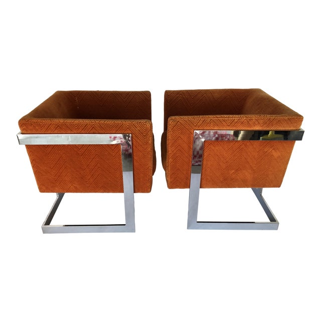 1970s Mid-Century Modern Milo Baughman T-Back Chrome Lounge Chairs - a Pair For Sale