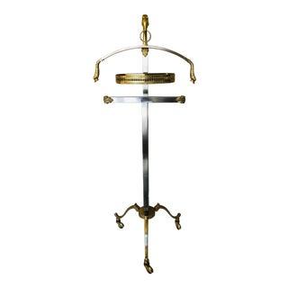Maison Jansen Steel Brass Rams Head Valet For Sale