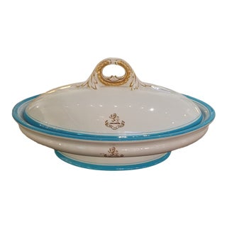 19th Century Royal Worcester Covered Oval Dish With Turquoise Banding and Lion Crest For Sale