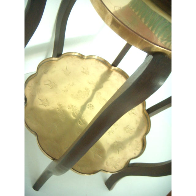 Folding Vintage Chinese Two Tier Engraved Brass Side Tray Table With Good Fortune Bats For Sale In Tampa - Image 6 of 8