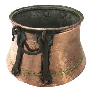 Hand Hammered Vintage Copper Cauldron For Sale