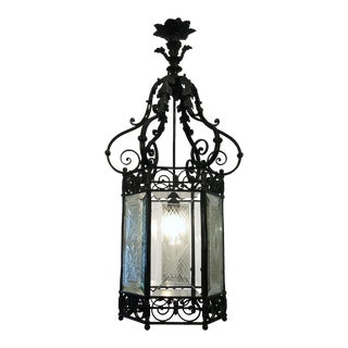 Antique Bronze Hall Lantern With Etched Glass Panels, Circa 1890-1910.