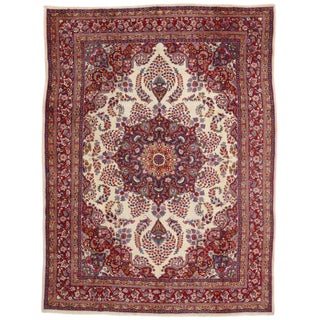 Vintage Persian Khorassan Traditional Style Area Rug - 9′7″ × 12′9″ For Sale
