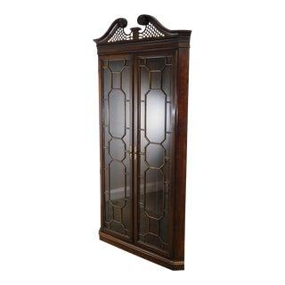 Harden Dark Cherry Chippendale Style Corner Curio Display Cabinet For Sale