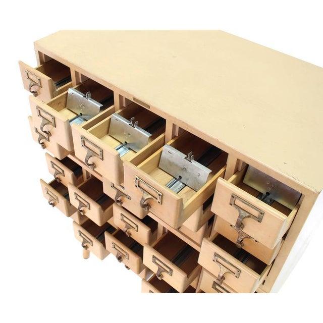 Multi Drawer Vintage All Solid Wood Index Card File Cabinet For Sale - Image 4 of 9