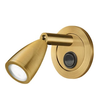 Brushed Brass Led Reading Light With Tapered Head and Switch For Sale