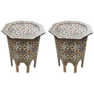 Pair of Moroccan Inlay Geometric Tables For Sale