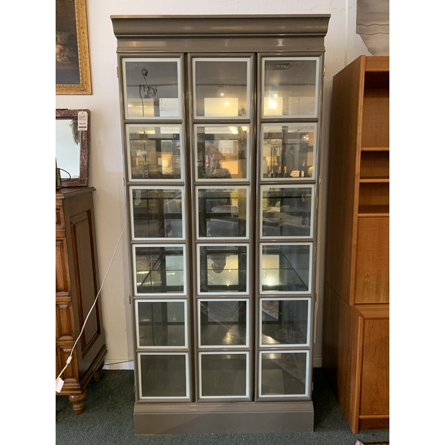 Custom Large Gray Lacquered Lighted Display Cabinet For Sale - Image 12 of 12