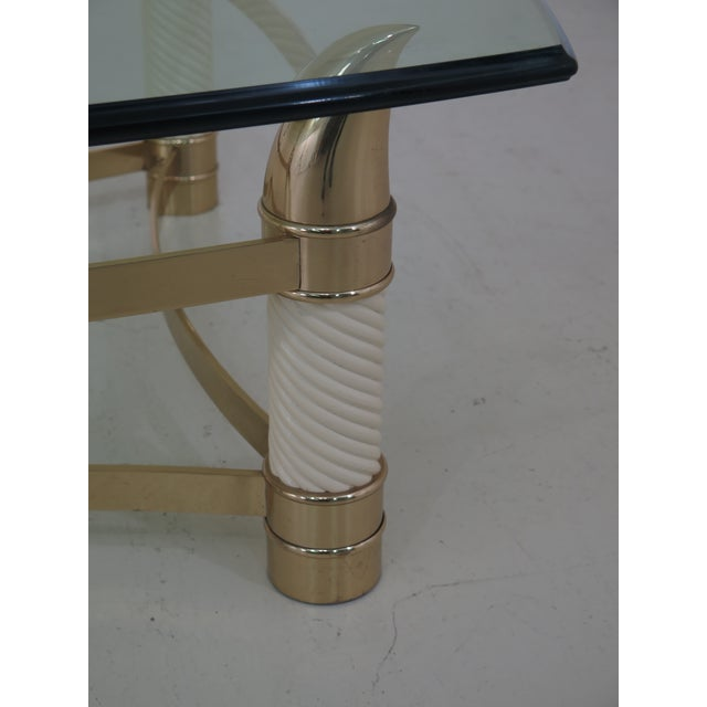 1990s Modern Design Brass & Glass Coffee Table For Sale - Image 5 of 9
