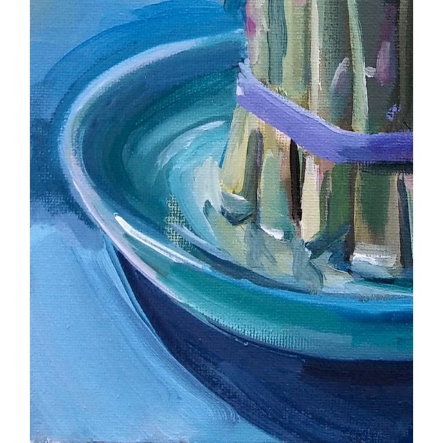 Oil on canvas panel by American artist Paula McCarty. Shades of blue, blue-green, and yellow are used to paint bound...