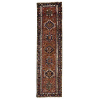 20th Century Persian Heriz Runner With Tribal Style - 3′ × 9′10″ For Sale