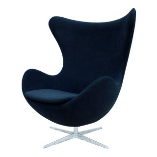 1958 Mid-Century Modern Arne Jacobsen Style Easy Egg Chair in Black Suede Blend