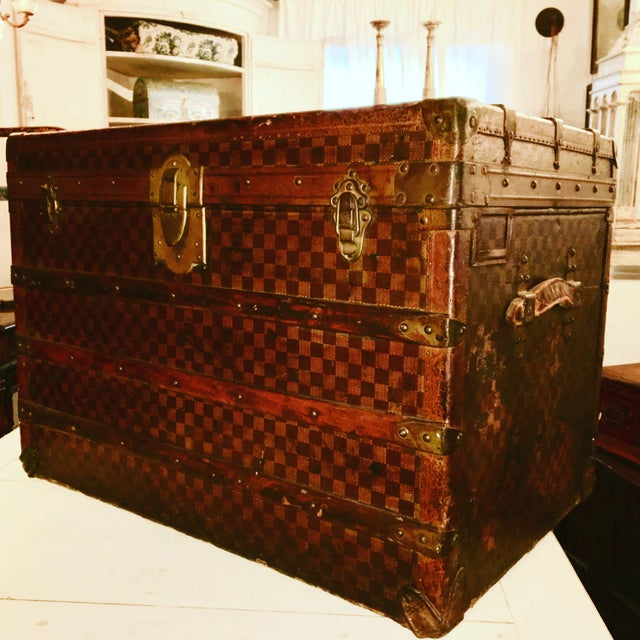 "Moynat Steamer Trunk, C. 1900-1920, Damier Pattern. Leather handles, brass fittings. 21"" h x 20 d x 29.5 w. Superb patina..."