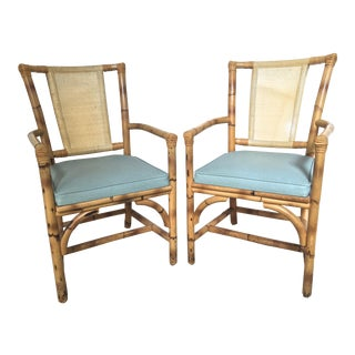 1950s Mid-Century Modern Bamboo and Rattan Arm Chairs - a Pair
