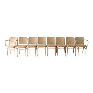 Hoffmann Thonet Arm Chairs Set- 8 Pieces For Sale