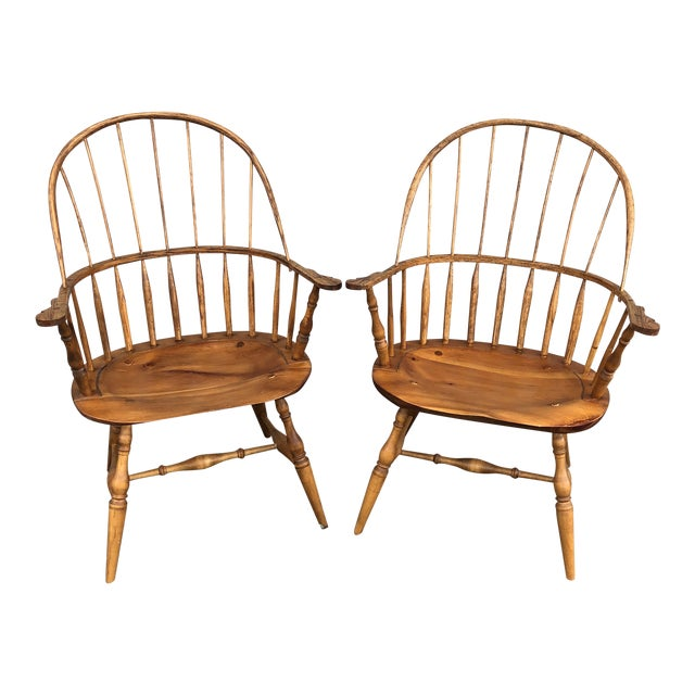 Modern Bench Made Hoop Back Windsor Armchairs- A Pair For Sale