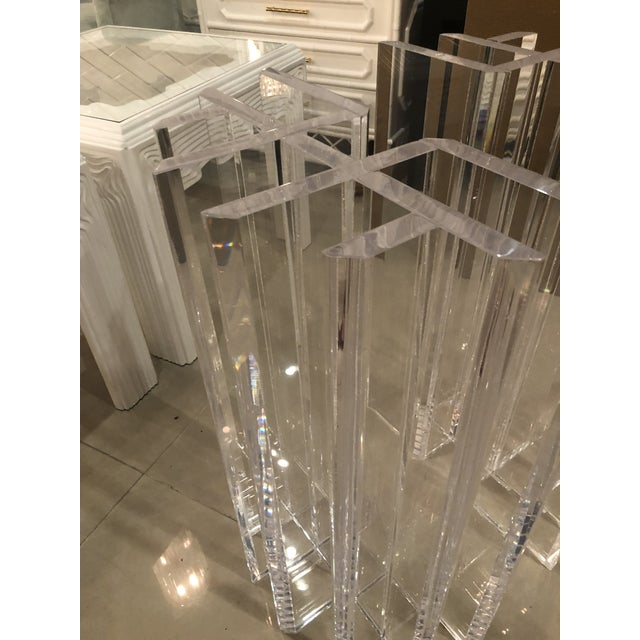 Vintage Hollywood Regency Radiator Lucite Dining Table Desk Bases -A Pair For Sale - Image 11 of 12
