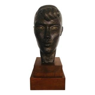Female Sculpture Bust on Wood Base