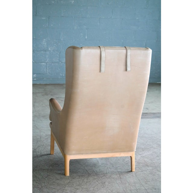 Wood Midcentury Scandinavian Arne Norell High Back Lounge Chair in Worn Tan Leather For Sale - Image 7 of 10