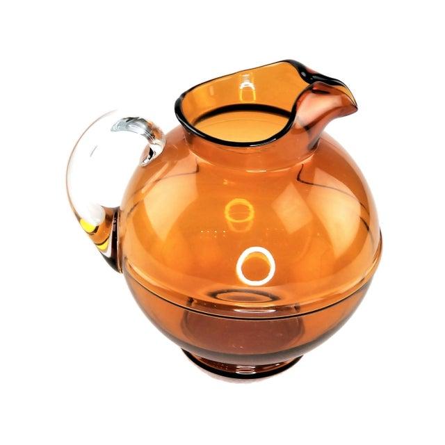 Mid-Century Modern Mid-Century Modern Amber Art Glass Hand Blown Iced Tea Lemonade Set - Set of 6 For Sale - Image 3 of 9