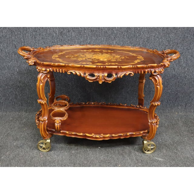 Italian Style Carved and Inlaid Bar Cart For Sale - Image 9 of 9