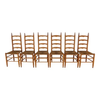 Set of 6 Rush Bottom Ladder Back Side Chairs